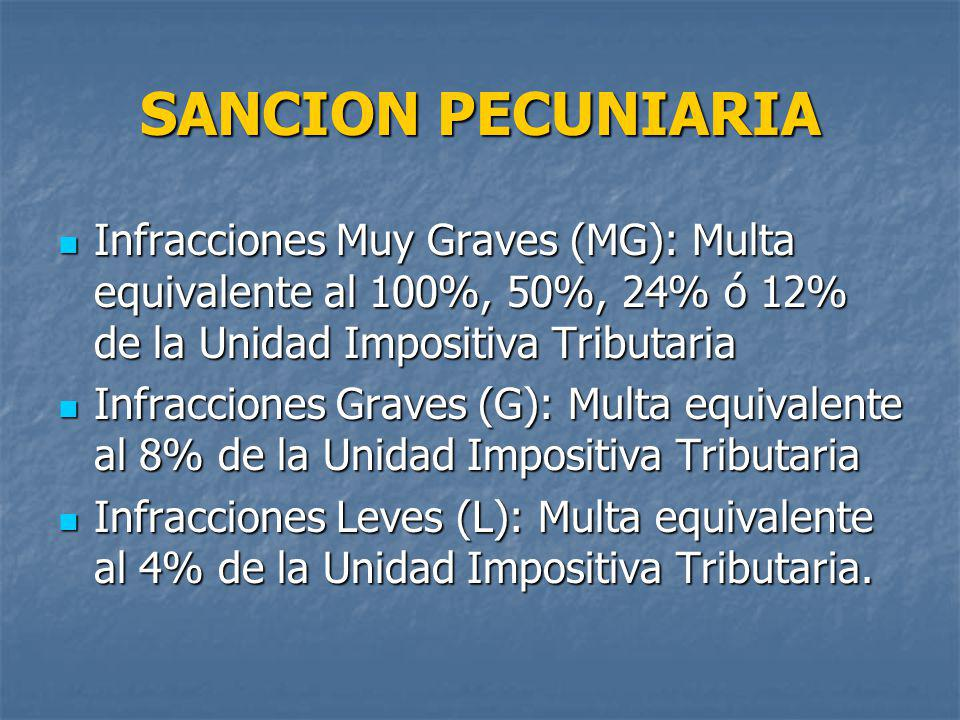 SANCION PECUNIARIA Infracciones Muy Graves (MG): Multa equivalente al 100%, 50%, 24% ó 12% de la Unidad Impositiva Tributaria.