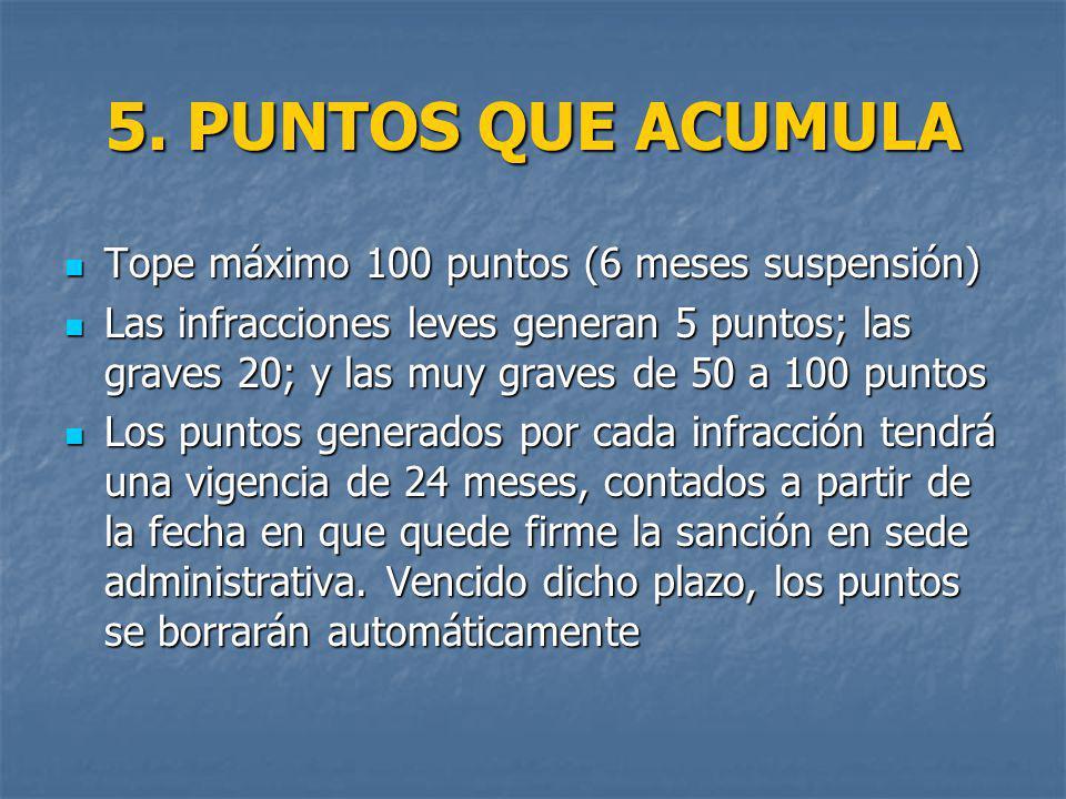 5. PUNTOS QUE ACUMULA Tope máximo 100 puntos (6 meses suspensión)