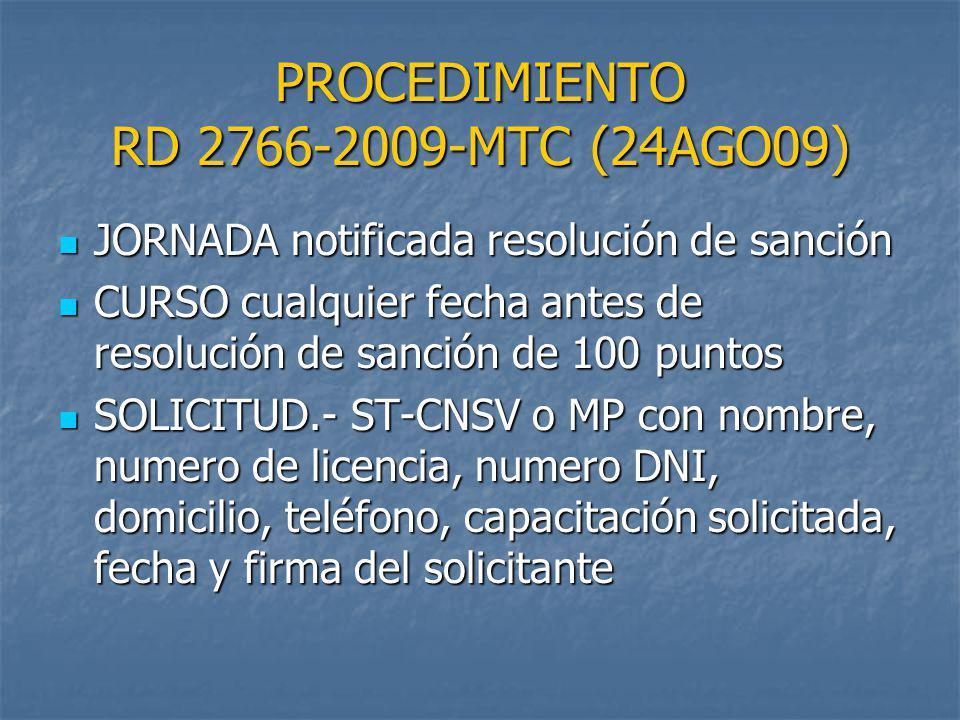 PROCEDIMIENTO RD 2766-2009-MTC (24AGO09)