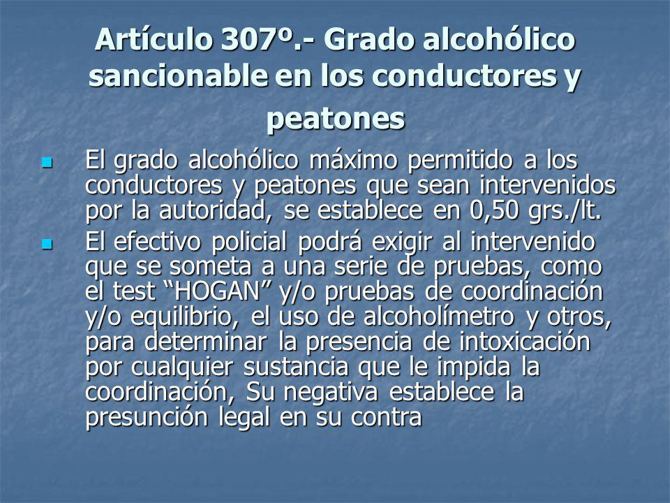 Artículo 307º.- Grado alcohólico sancionable en los conductores y peatones