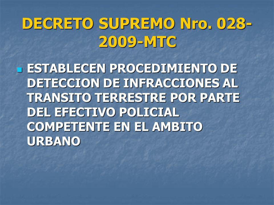 DECRETO SUPREMO Nro. 028-2009-MTC