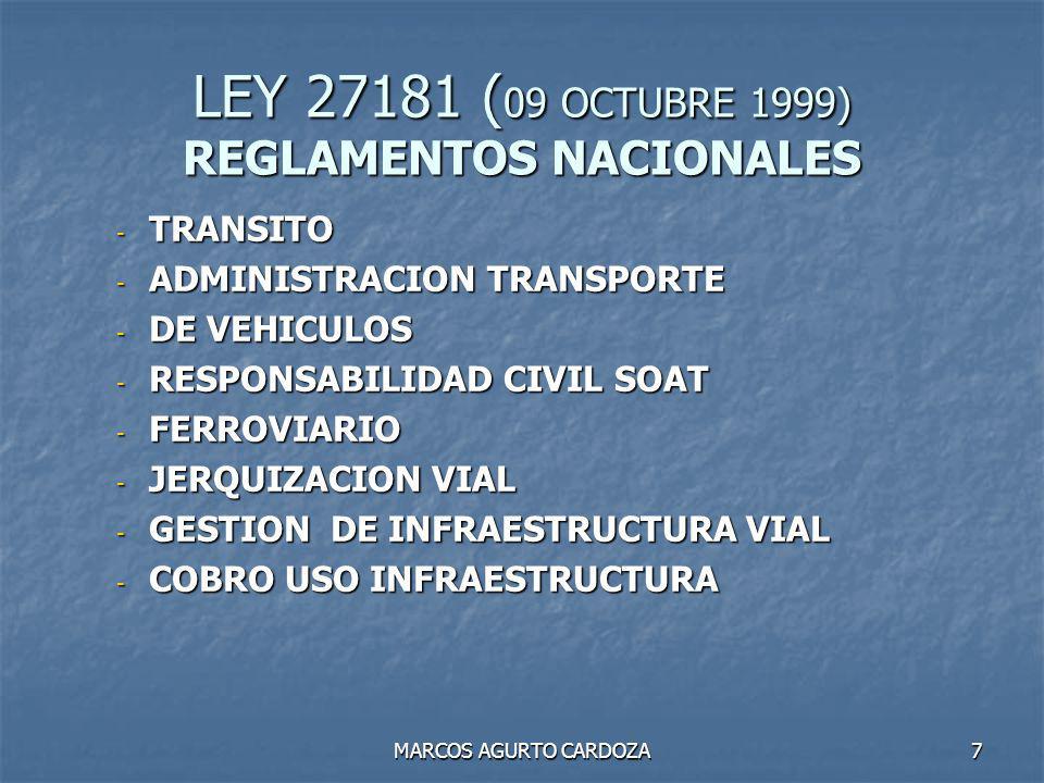 LEY 27181 (09 OCTUBRE 1999) REGLAMENTOS NACIONALES