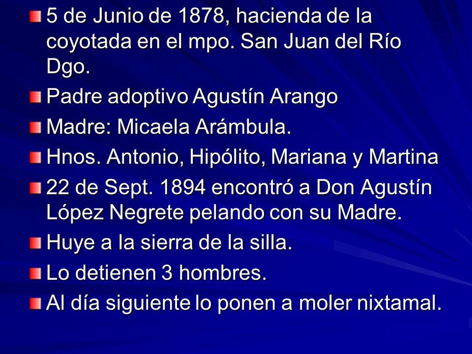 5 de Junio de 1878, hacienda de la coyotada en el mpo