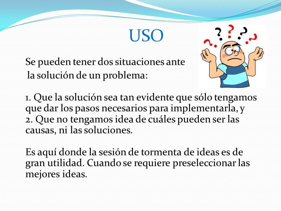 USO Se pueden tener dos situaciones ante la solución de un problema: 1