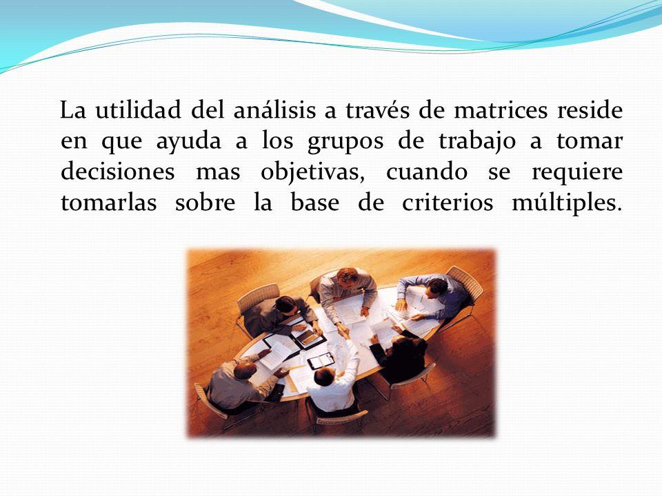 La utilidad del análisis a través de matrices reside en que ayuda a los grupos de trabajo a tomar decisiones mas objetivas, cuando se requiere tomarlas sobre la base de criterios múltiples.