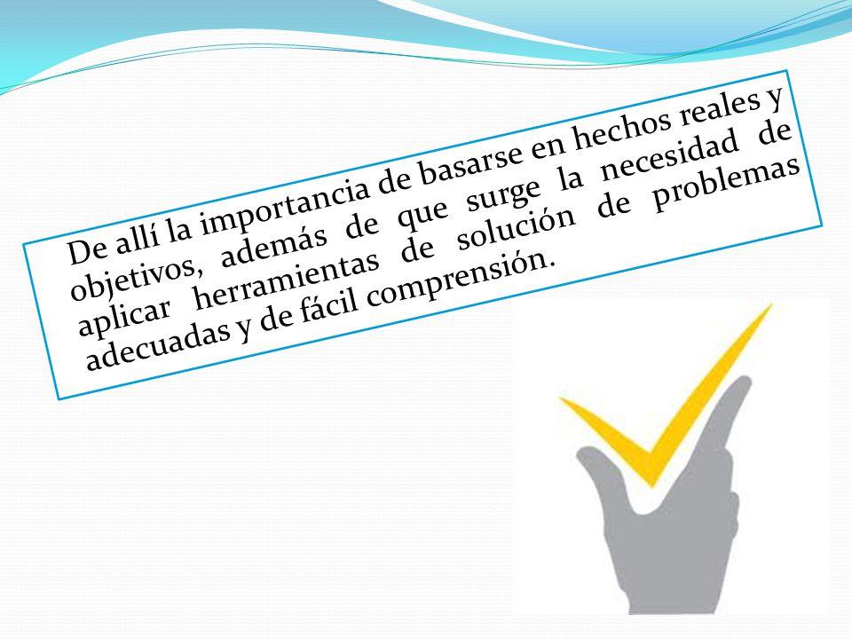 De allí la importancia de basarse en hechos reales y objetivos, además de que surge la necesidad de aplicar herramientas de solución de problemas adecuadas y de fácil comprensión.