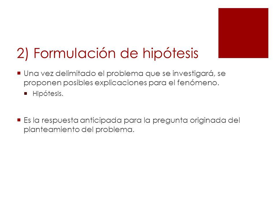 2) Formulación de hipótesis