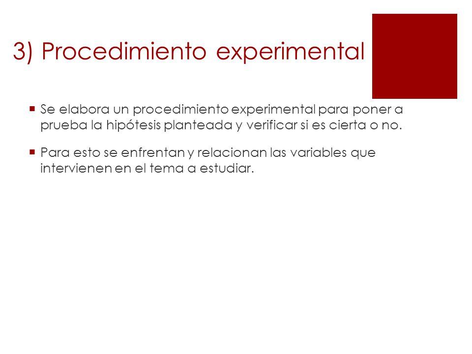3) Procedimiento experimental
