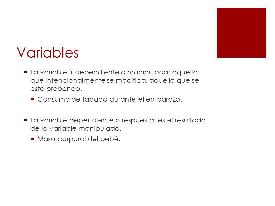 Variables La variable independiente o manipulada: aquella que intencionalmente se modifica, aquella que se está probando.