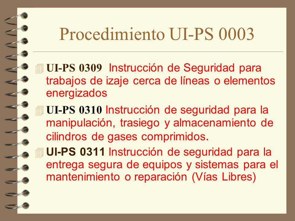 Procedimiento UI-PS 0003 UI-PS 0309 Instrucción de Seguridad para trabajos de izaje cerca de líneas o elementos energizados.