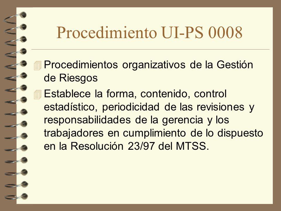 Procedimiento UI-PS 0008 Procedimientos organizativos de la Gestión de Riesgos.
