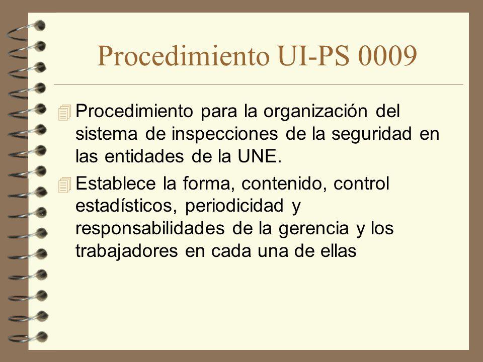 Procedimiento UI-PS 0009 Procedimiento para la organización del sistema de inspecciones de la seguridad en las entidades de la UNE.