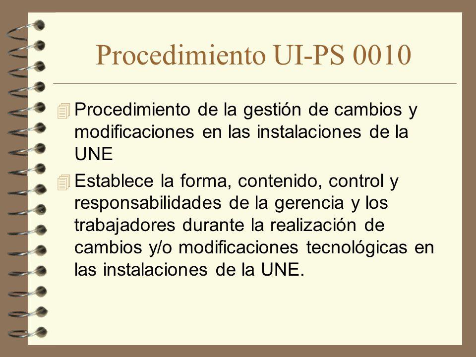 Procedimiento UI-PS 0010 Procedimiento de la gestión de cambios y modificaciones en las instalaciones de la UNE.