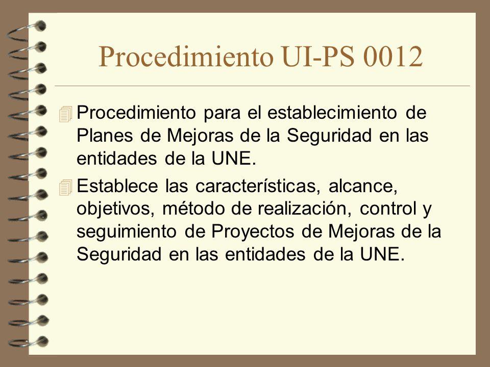 Procedimiento UI-PS 0012 Procedimiento para el establecimiento de Planes de Mejoras de la Seguridad en las entidades de la UNE.