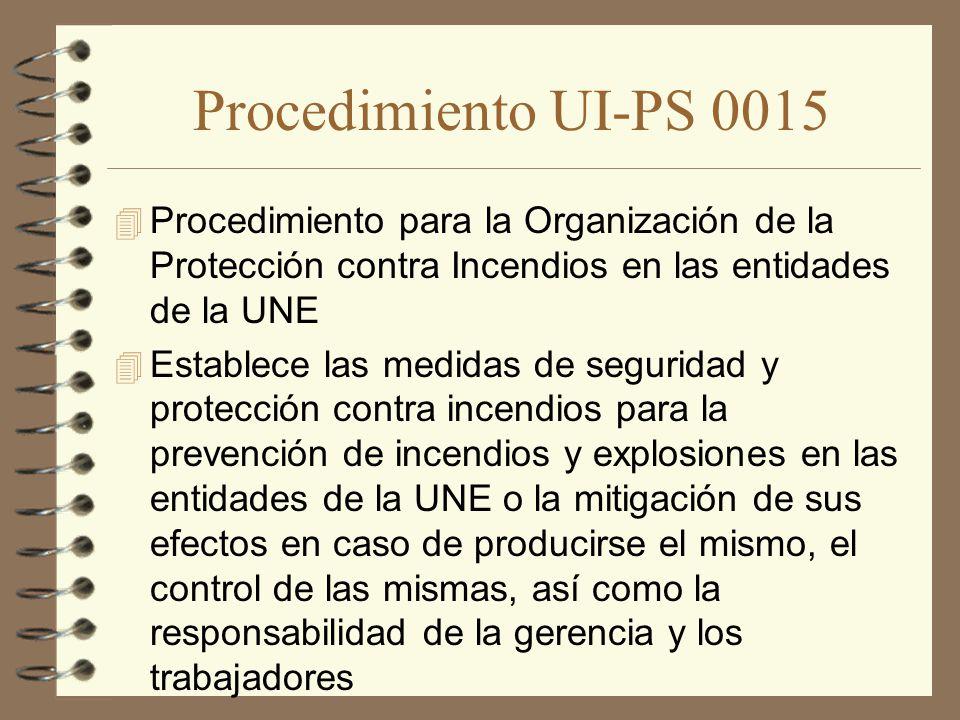 Procedimiento UI-PS 0015 Procedimiento para la Organización de la Protección contra Incendios en las entidades de la UNE.
