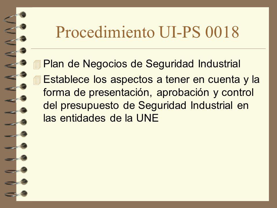 Procedimiento UI-PS 0018 Plan de Negocios de Seguridad Industrial