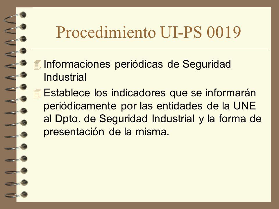 Procedimiento UI-PS 0019 Informaciones periódicas de Seguridad Industrial.