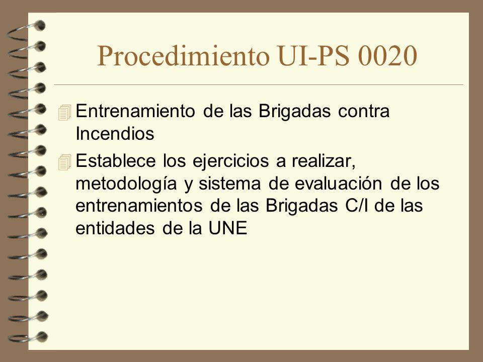 Procedimiento UI-PS 0020 Entrenamiento de las Brigadas contra Incendios.