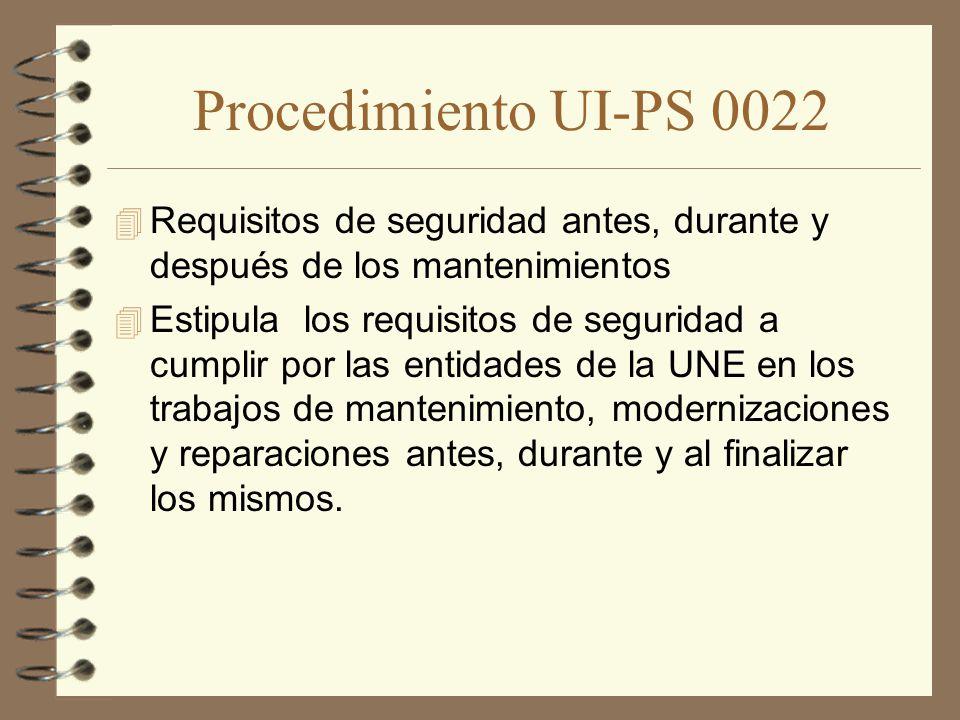 Procedimiento UI-PS 0022 Requisitos de seguridad antes, durante y después de los mantenimientos.