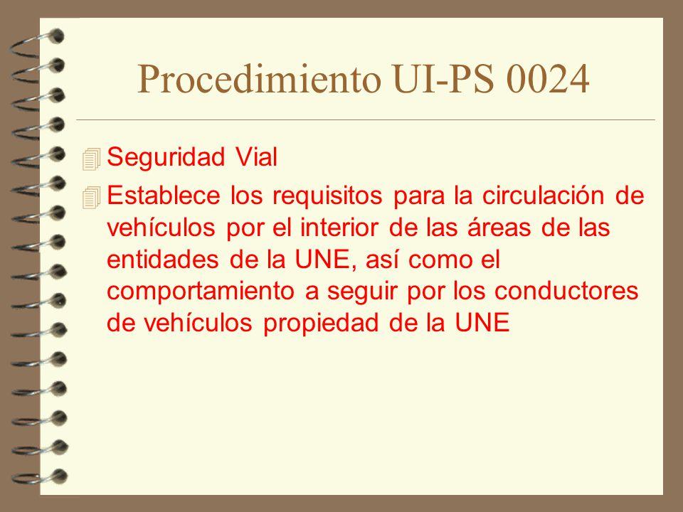 Procedimiento UI-PS 0024 Seguridad Vial