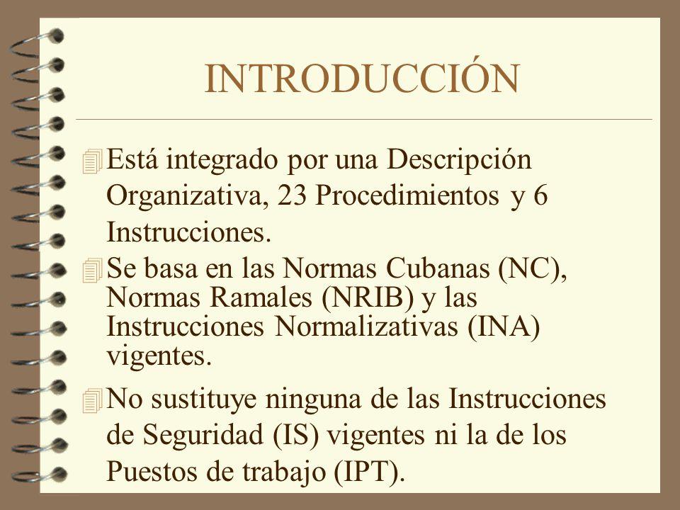 INTRODUCCIÓN Está integrado por una Descripción Organizativa, 23 Procedimientos y 6 Instrucciones.