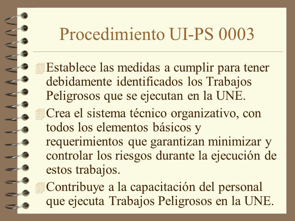 Procedimiento UI-PS 0003 Establece las medidas a cumplir para tener debidamente identificados los Trabajos Peligrosos que se ejecutan en la UNE.