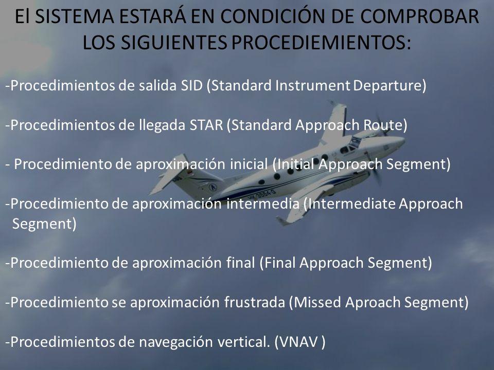El SISTEMA ESTARÁ EN CONDICIÓN DE COMPROBAR LOS SIGUIENTES PROCEDIEMIENTOS: