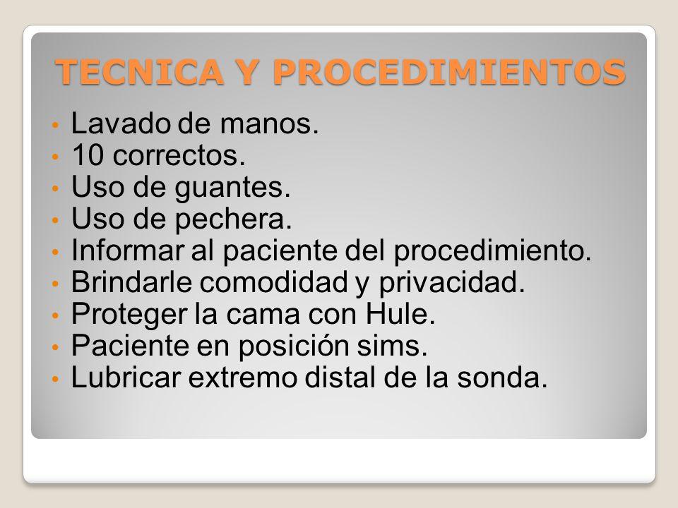 TECNICA Y PROCEDIMIENTOS