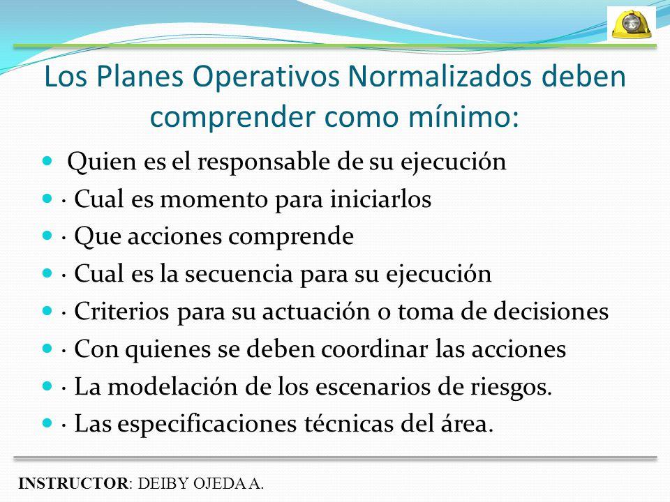 Los Planes Operativos Normalizados deben comprender como mínimo:
