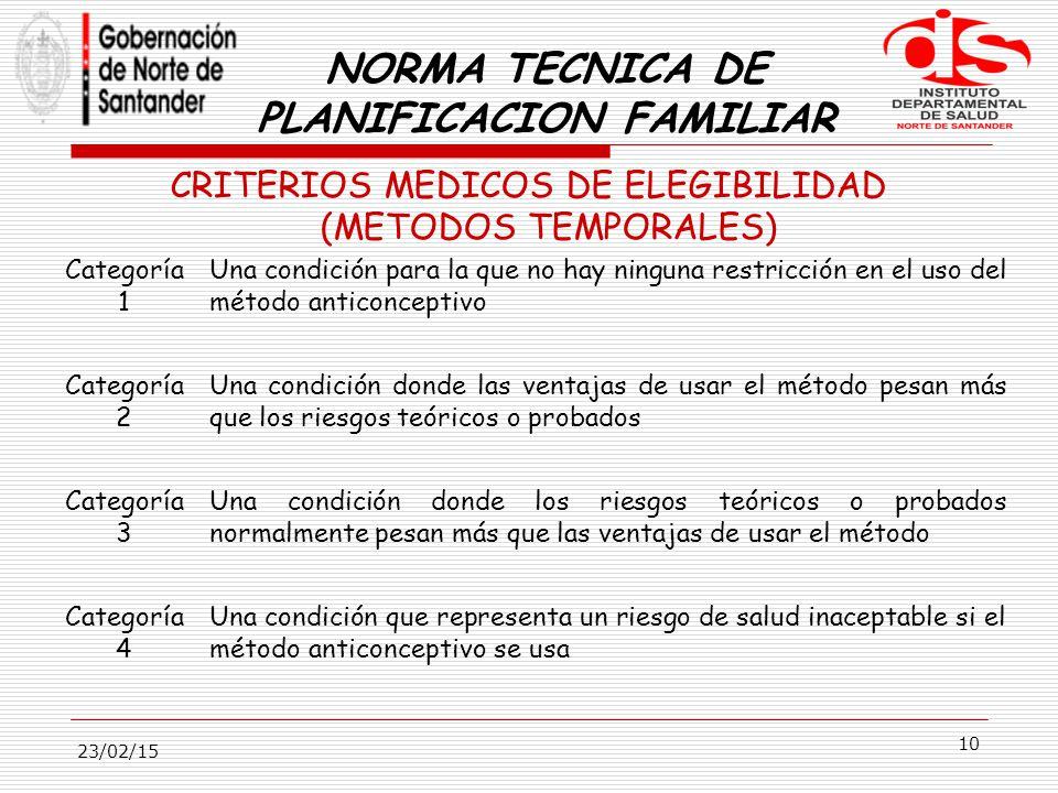 NORMA TECNICA DE PLANIFICACION FAMILIAR