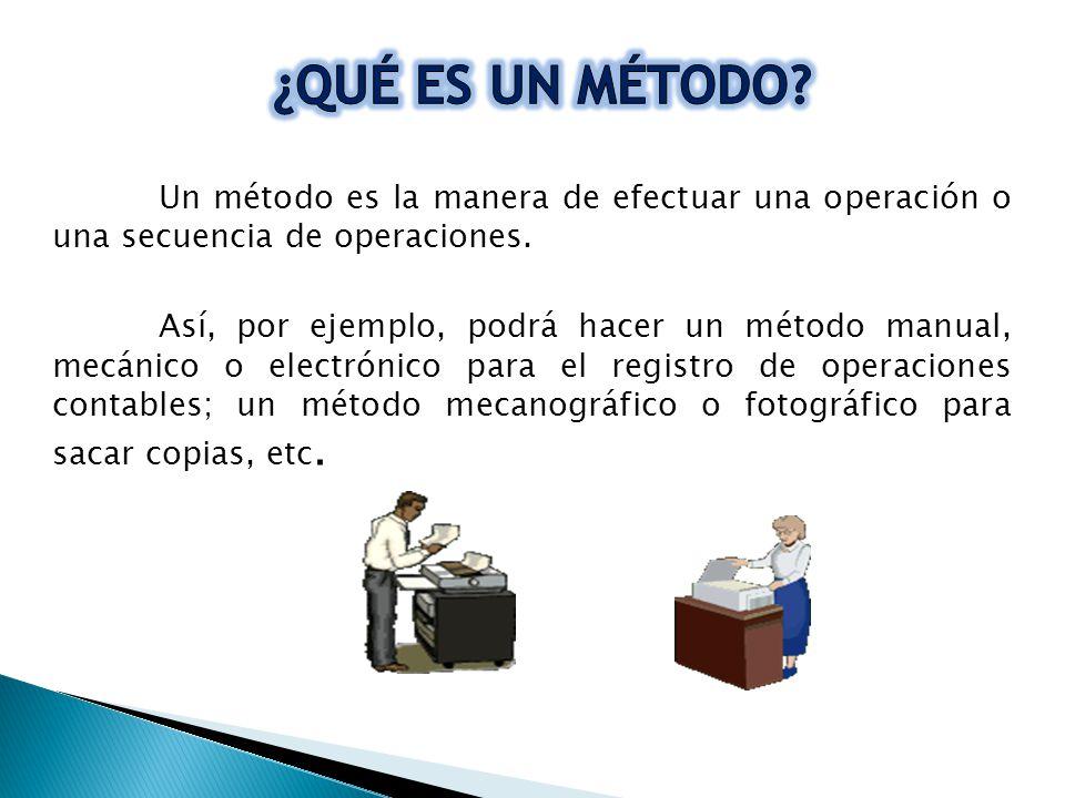 ¿QUÉ ES UN MÉTODO Un método es la manera de efectuar una operación o una secuencia de operaciones.