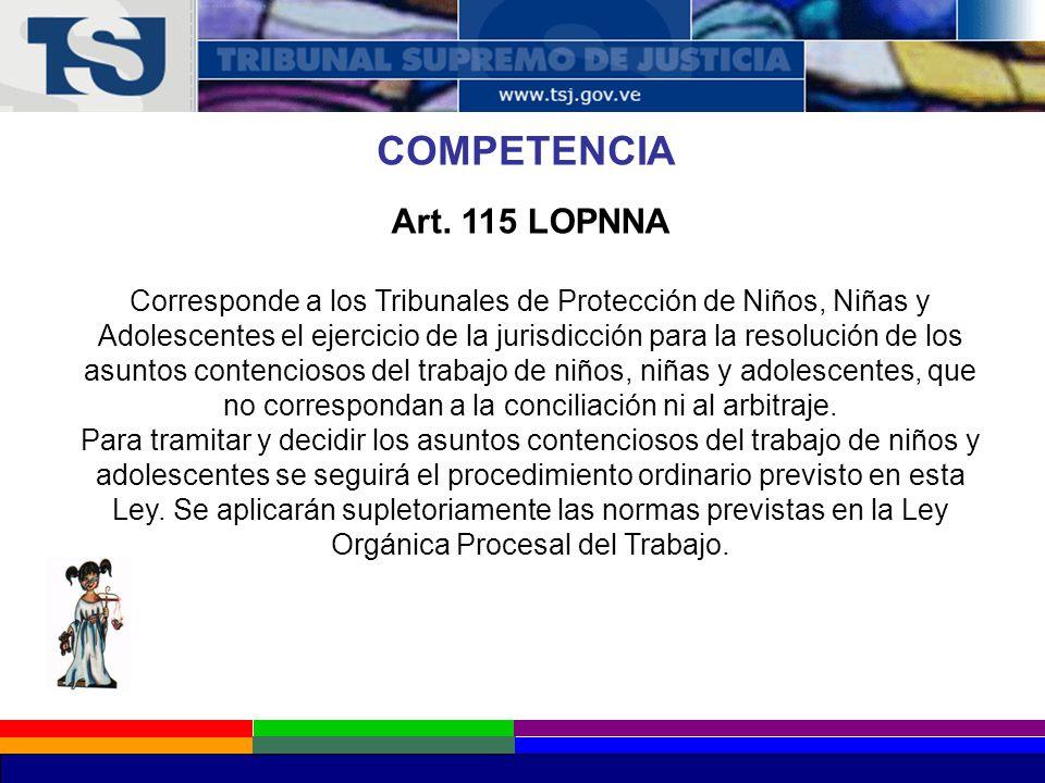 COMPETENCIA Art. 115 LOPNNA