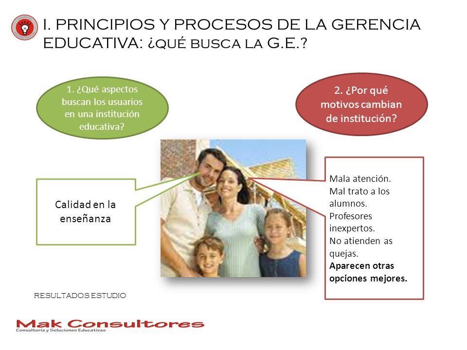 I. PRINCIPIOS Y PROCESOS DE LA GERENCIA EDUCATIVA: ¿qué busca la G.E.