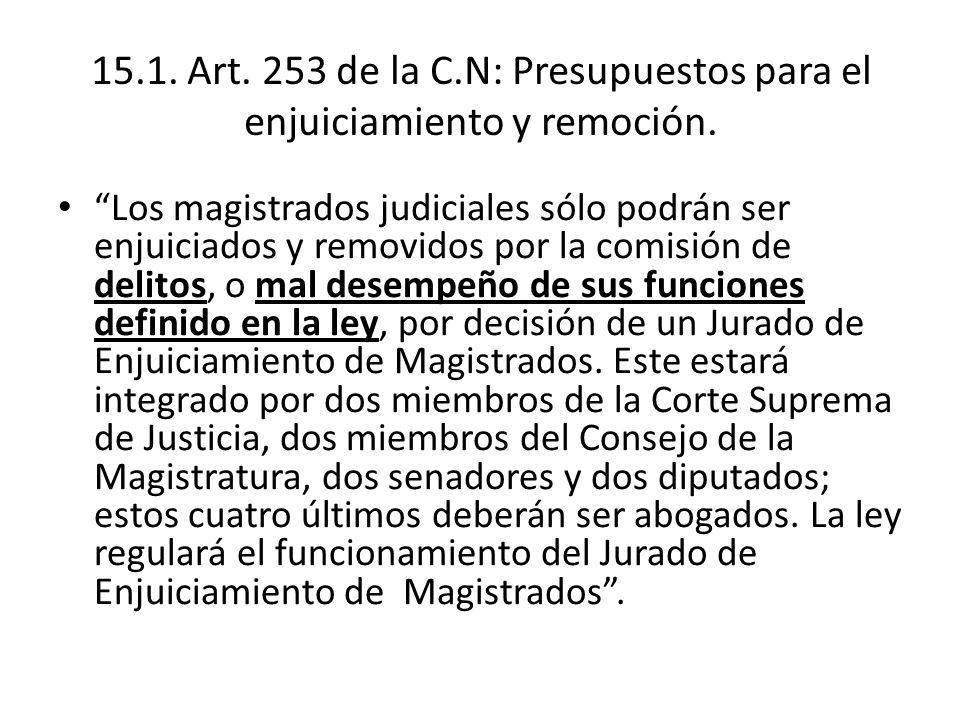 15.1. Art. 253 de la C.N: Presupuestos para el enjuiciamiento y remoción.