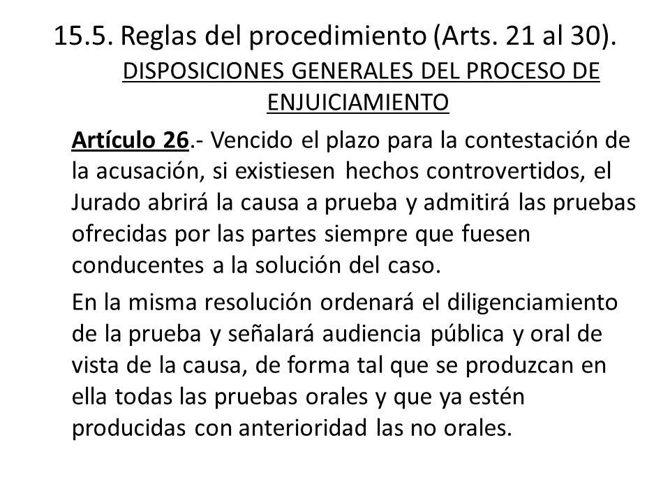 15.5. Reglas del procedimiento (Arts. 21 al 30).