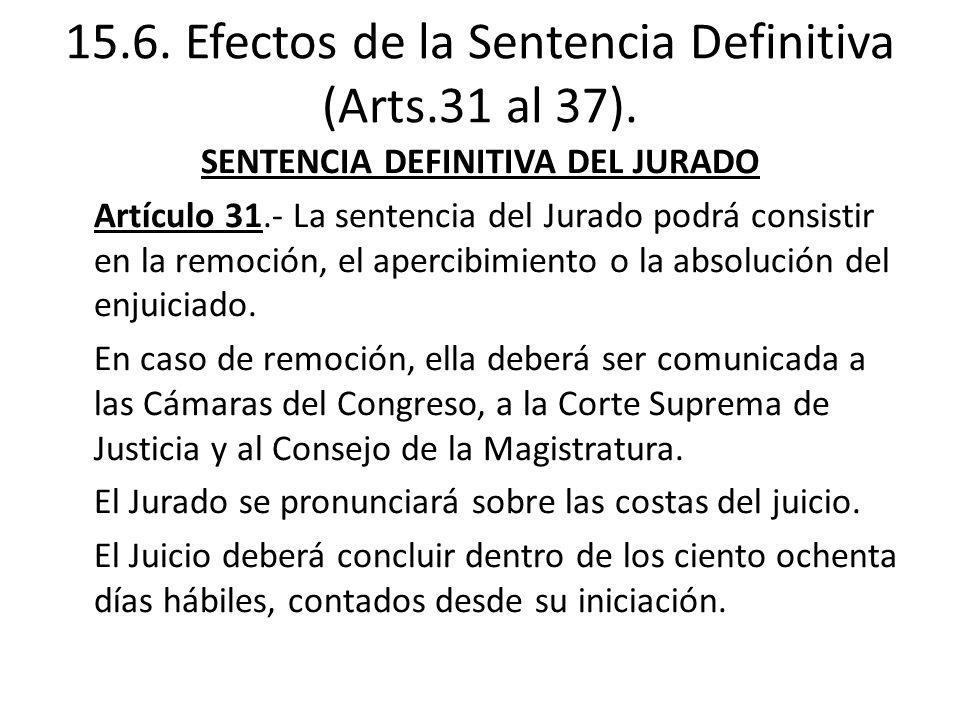 15.6. Efectos de la Sentencia Definitiva (Arts.31 al 37).