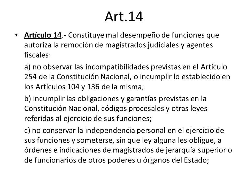 Art.14 Artículo 14.- Constituye mal desempeño de funciones que autoriza la remoción de magistrados judiciales y agentes fiscales: