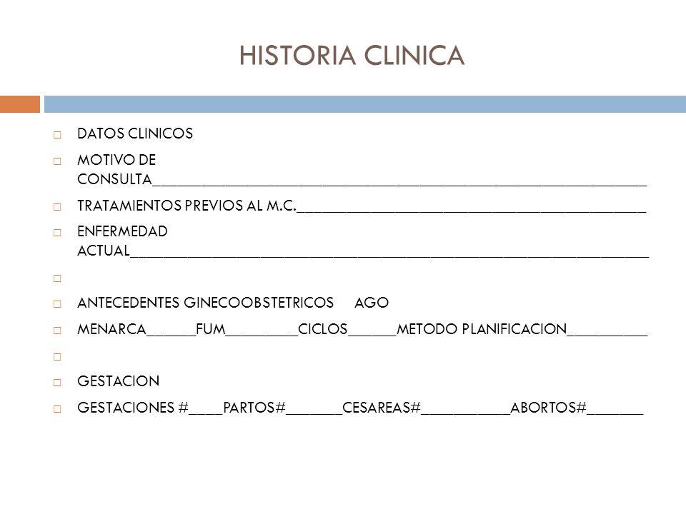 HISTORIA CLINICA DATOS CLINICOS