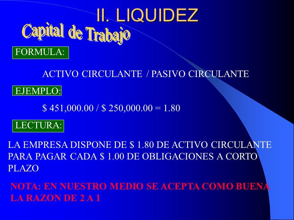 II. LIQUIDEZ Capital de Trabajo FORMULA:
