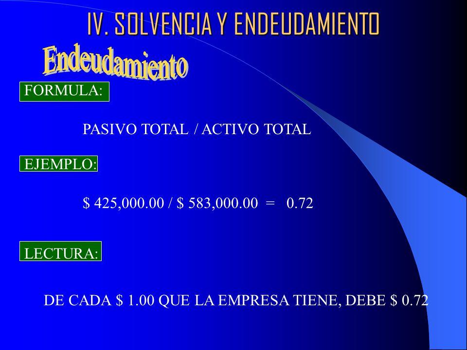 IV. SOLVENCIA Y ENDEUDAMIENTO