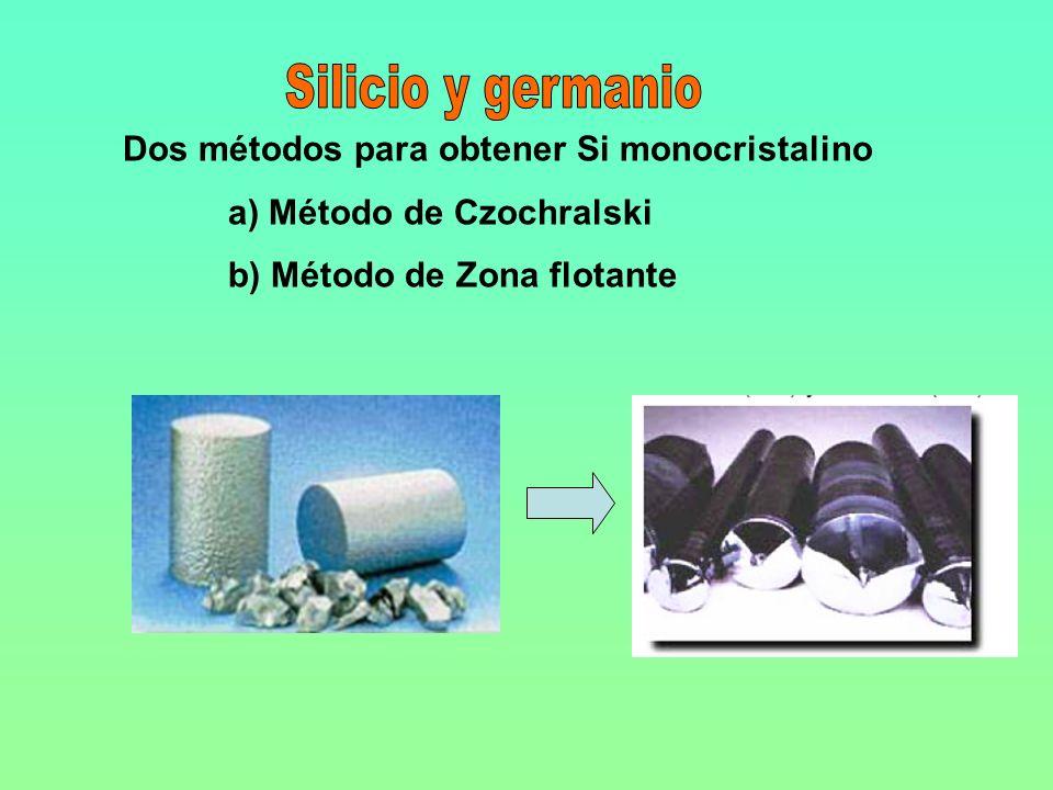 Silicio y germanio Dos métodos para obtener Si monocristalino