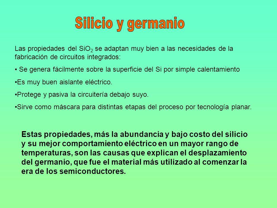 Silicio y germanio Las propiedades del SiO2 se adaptan muy bien a las necesidades de la fabricación de circuitos integrados: