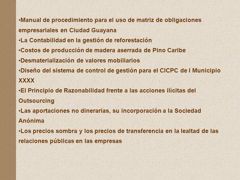 Manual de procedimiento para el uso de matriz de obligaciones empresariales en Ciudad Guayana