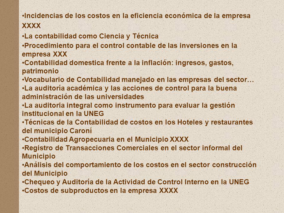Incidencias de los costos en la eficiencia económica de la empresa XXXX