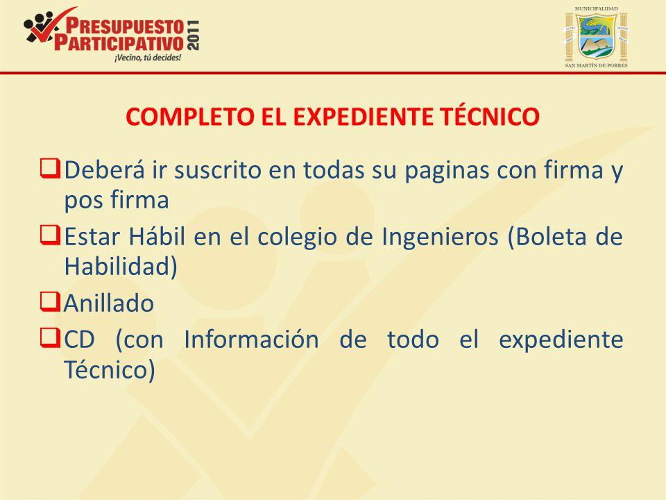 COMPLETO EL EXPEDIENTE TÉCNICO