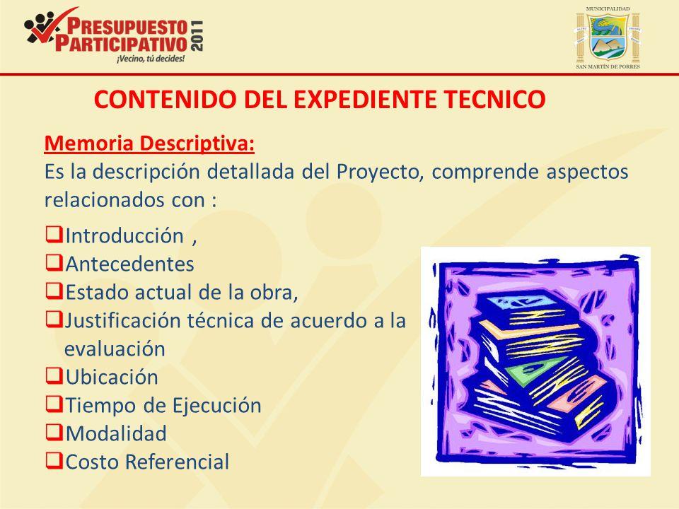 CONTENIDO DEL EXPEDIENTE TECNICO