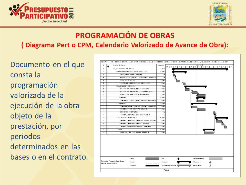 ( Diagrama Pert o CPM, Calendario Valorizado de Avance de Obra):