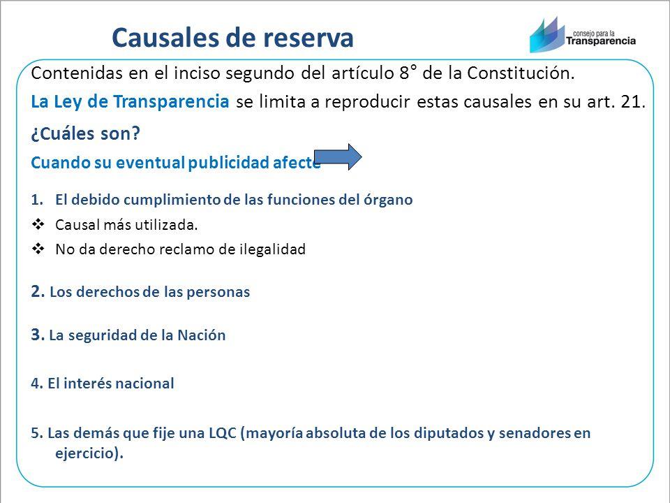 Causales de reserva Contenidas en el inciso segundo del artículo 8° de la Constitución.
