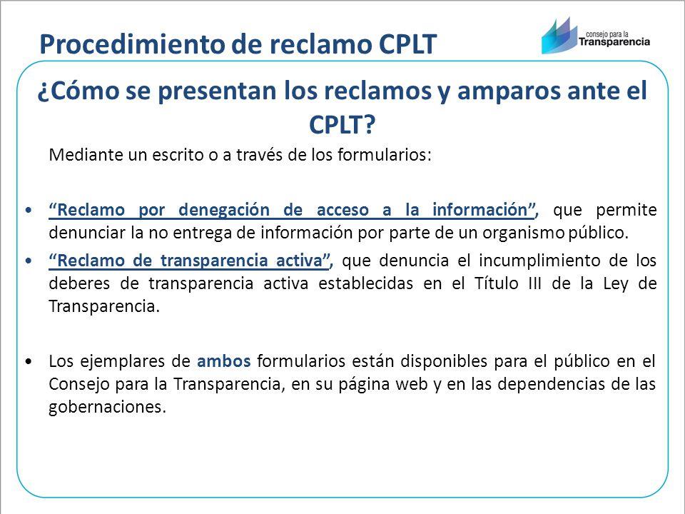 ¿Cómo se presentan los reclamos y amparos ante el CPLT