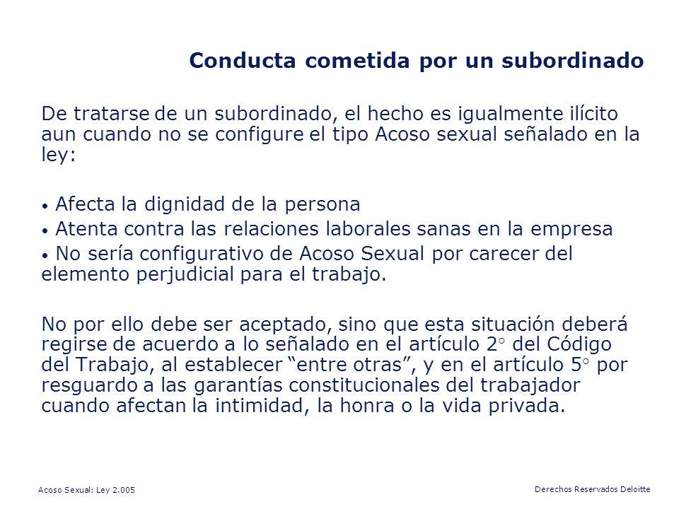 Conducta cometida por un subordinado